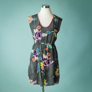 Rebecca Taylor  0 Gray Wild Rose Silk Dress